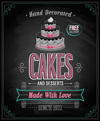 Wall Mural - Cakes Poster - Chalkboard. Vector illustration.