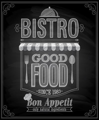 Wall Mural - Bistro Poster - Chalkboard. Vector illustration.