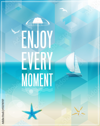 Wall mural Seaside view poster. Vector background.