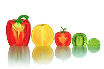 """""""The cut vegetables and fruit, isolated on a white background"""""""