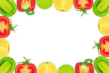 """""""The frame  of the fruit and vegetables on a white background"""""""