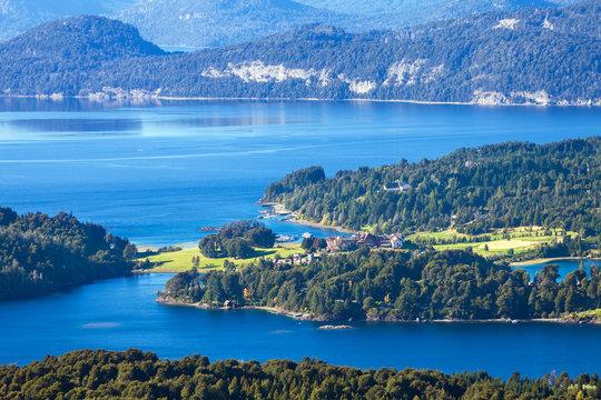 View from the mountain Lopez to the Villa Llao Llao, Bariloche