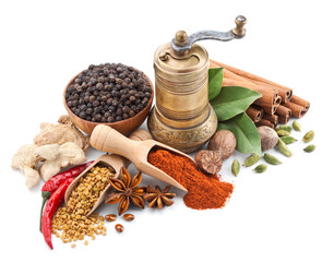 In de dag Kruiden still life with spices and herbs isolated on white