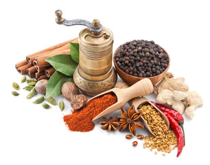 Printed kitchen splashbacks Spices still life with spices and herbs isolated on white