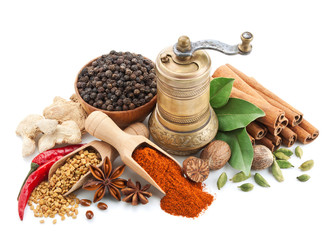 Printed kitchen splashbacks Spices composition with different spices and herbs isolated