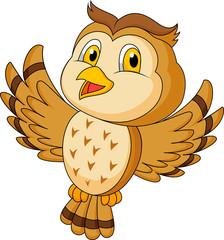 CVute owl cartoon flying