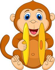 Cute monkey palying cymbal