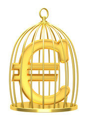 Sign euro in a cage