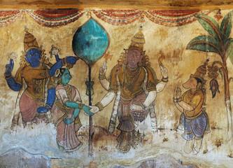 Fresko im Tempel von Thanjavur, Tamil Nadu, Indien