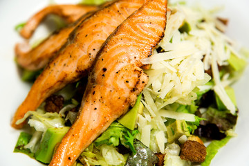Fresh salmon steak, closeup image.