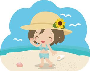 麦わら帽子をかぶった水着の女性
