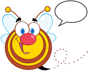 Cute Honey Bee Cartoon Mascot Character With Speech Bubble