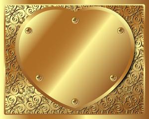 Background with golden metallic heart