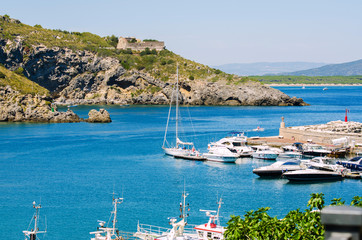 Port with many yachts on summer day