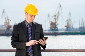 engineer is using the digital tablet