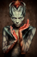 Female lizard. Bodyart
