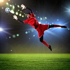 Keuken foto achterwand voetbal Goalkeeper catches the ball