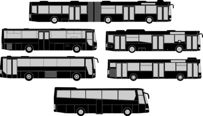 Vector pack of various bus silhouettes