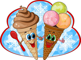 two cheerful ice cream on the forest fund