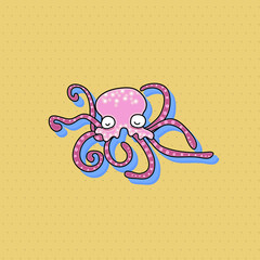hand drawing cartoon funny octopus