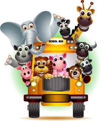 safari animals in yellow car