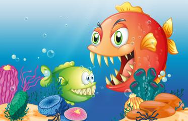 Poster Submarine Different sea creatures