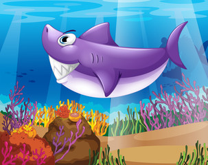 Poster Submarine A shark smiling at the bottom of the sea
