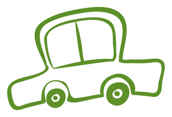 A drawing of a green car