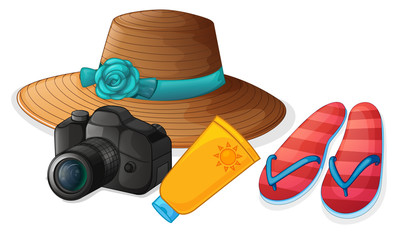 A camera, a hat, a lotion and a pair of slippers
