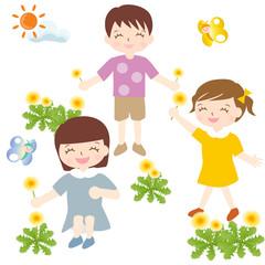 春夏 たんぽぽ お花摘み 子供たち 蝶