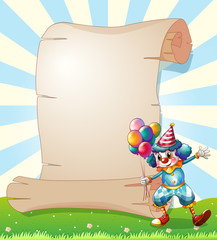 A clown beside a long paper scroll