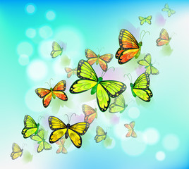 Zelfklevend Fotobehang Vlinders A blue colored stationery with butterflies