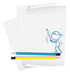 A paper with a sketch of a boy playing baseball