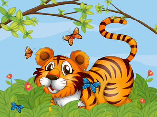 A tiger with butterflies in the garden