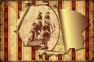 Papiers peints Affiche vintage 3D Aufgerissene Tapete - Segelschiff