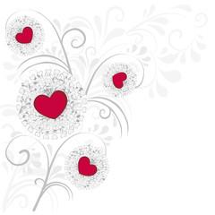 Hintergrund aus Herzen und Ornamenten