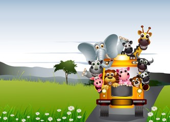 funny animal cartoon on yellow car and tropical forest