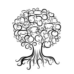 Ornamental tree with roots for your design