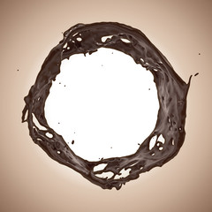 Wall Mural - 3d round liquid chocolate splashing frame border