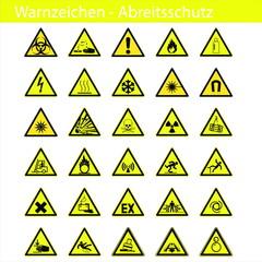 Warnzeichen - Arbeitsschutz - Sicherheitszeichen