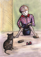 The boy and cat