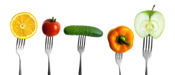vegetables and fruits on forks