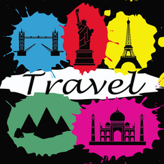 Foto op Plexiglas Doodle Travel wallpaper with colorful splashes