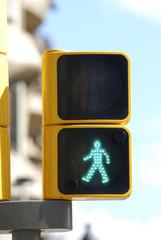 Green pedestrian signal. Barcelona. Spain