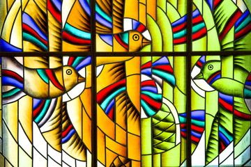 Abstract multicolored stained glass window