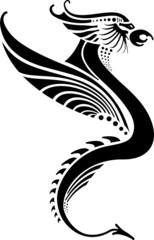 Silhouette of a black dragon