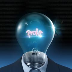 Profit light bulb 3D concept