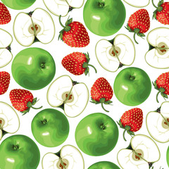 Green apple and strawberries seamless pattern