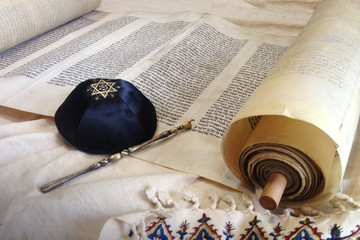 Torah scroll with Kippah Wall mural
