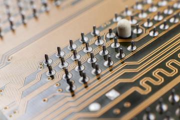 yellow computer circuit board close-up